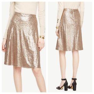 Ann Taylor Gold Metallic Sequin Flare Skirt